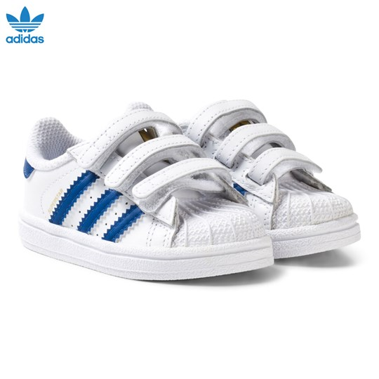 adidas Originals White and Blue Superstar Infant Trainers FTWR WHITE/EQT BLUE S16/FTWR WHITE