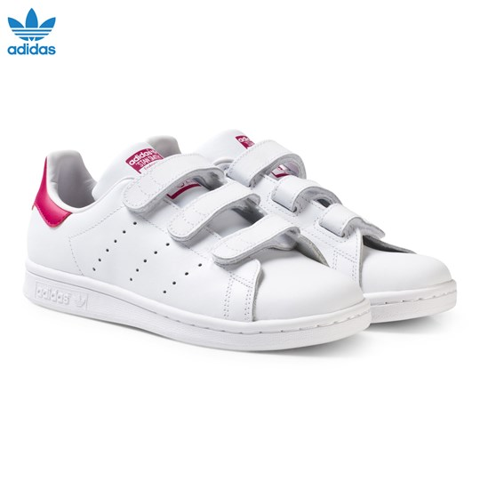 adidas Originals White and Pink Stan Smith Junior Trainers FTWR WHITE/FTWR WHITE/BOLD PINK
