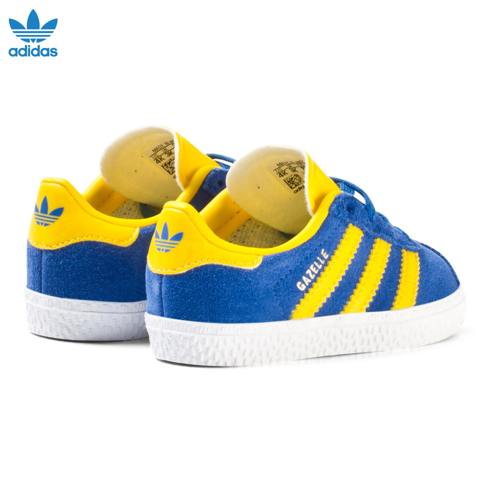adidas Originals - Blue and Yellow Gazelle Infant Trainers ...