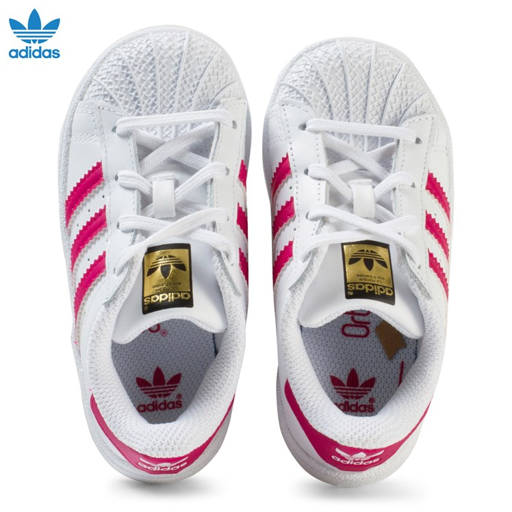adidas Originals White and Pink Infants Superstar Trainers