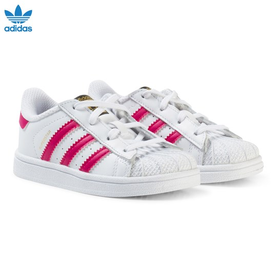 adidas Originals White and Pink Infants Superstar Trainers FTWR WHITE/BOLD PINK/FTWR WHITE