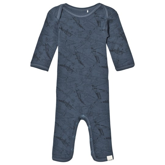 Celavi Wool Baby One-Piece Bering Sea Navy