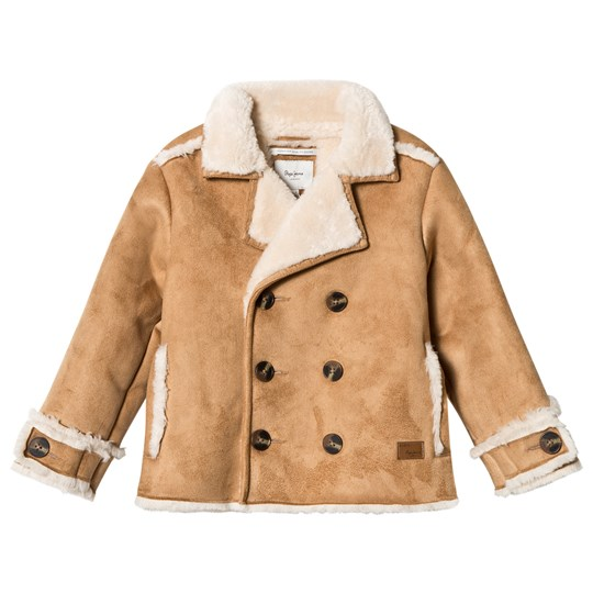 Pepe Jeans Camel Shearling Double Breasted Coat 855