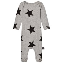 NUNUNU Star Footed Baby Body Heather Grey Grey