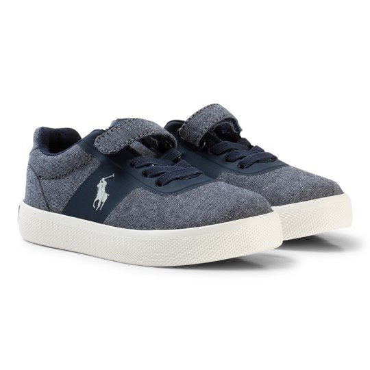 Ralph Lauren Navy Suede Hanford HM Velcro Trainers Navy Chambray w/ White PP