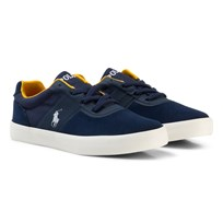 Ralph Lauren Navy Suede Hanford HM Laced Trainers Navy Suede-Canvas w/ White PP