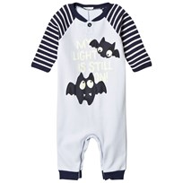 United Colors of Benetton Stripe Sleeves Bat Pyjamas with Glow in The Dark Print Blue Blue