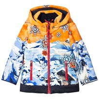 Sportalm Orange and Blue Multi Hooded Jacket 65 Golden Poppy