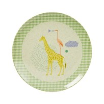 Rice Kids Bamboo Melamine Lunch Plate w. Boys Animal Print Boys Animal Print