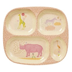 Rice Bamboo and Melamine Divided Plate with Animal Print