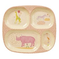 Rice Kids 4 Room Bamboo Melamine Plate w. Girls Animal Print Girls Animal Print