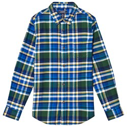 Lands' End Blue Multi Plaid Flannel Shirt