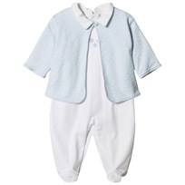 Kissy Kissy Pale Blue Star Print Jacket and White Babygrow Set WHLB