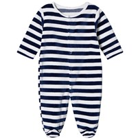 Kissy Kissy Navy Velour Stripe One-Piece NV