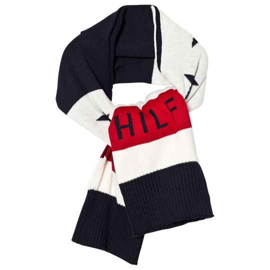 Tommy Hilfiger Navy, White and Red Branded Scarf 901