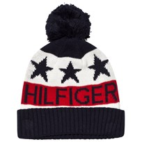 Tommy Hilfiger Navy, White and Red Branded Bobble Hat 901