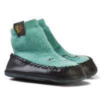 Kattnakken Wool and Leather Moccasins Green Pistasj