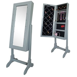 Image of JOX Floor Mirror & Jewelry Storage with LED-lights Grey (3056115799)