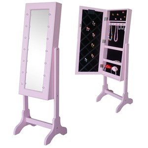 Image of JOX Floor Mirror & Jewelry Storage with LED-lights Pink (3056115801)