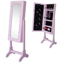 JOX Floor Mirror & Jewelry Storage with LED-lights Pink