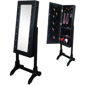 Image of JOX Floor Mirror & Jewelry Storage with LED-lights Blac (3056115805)
