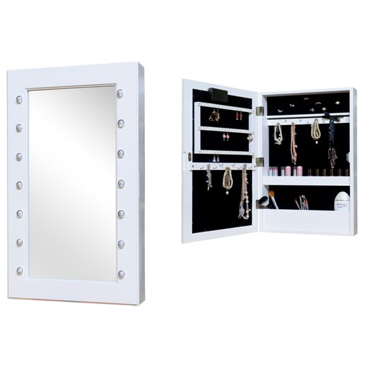 JOX Lighted Wall Mirror with Jewelry Storage White
