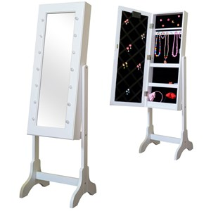 Image of JOX Furniture Floor mirror & jewelry storage with LED-lights White (3056115803)