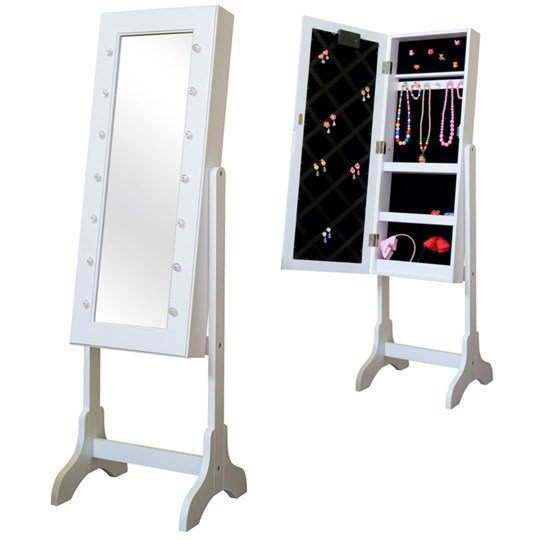 JOX Furniture Floor mirror & jewelry storage with LED-lights White
