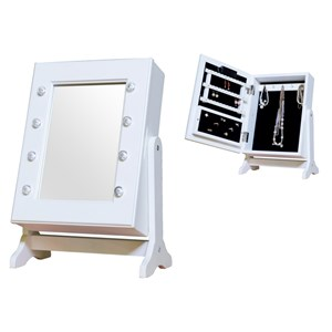 Image of JOX Desk Mirror & Jewelry Storage with LED-lights White (3056115807)