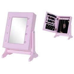 JOX Lighted Mirror with Jewelry Storage Pink
