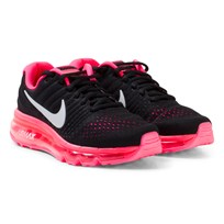 NIKE Black Nike Air Max 2017 Junior Running Shoe BLACK/WHITE-RACER PINK-HOT PUNCH