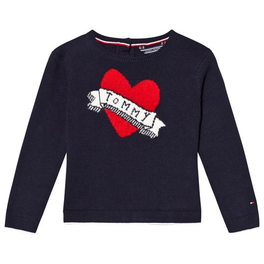 Tommy Hilfiger Navy Branded Heart Sweater 431
