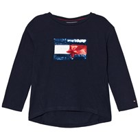 Tommy Hilfiger Navy Sequin Branded Flag Long Sleeve Tee 123