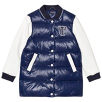 Tommy Hilfiger Navy and White Down Longline Bomber Jacket 901