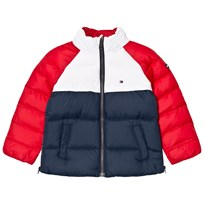 Tommy Hilfiger Navy, Red and White Colour Block Branded Padded Jacket 431