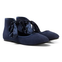 United Colors of Benetton Flattie Shoe with Tie Ankle Navy Laivastonsininen