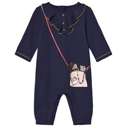The Marc Jacobs Navy Bag Print Frill Front Babygrow