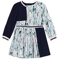 No Added Sugar Lilac and Navy Pleated Long Sleeve Dress RUNNING STRIPES - LILAC HUE
