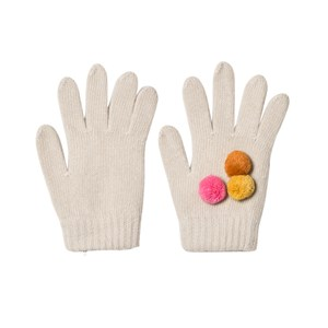 Image of Il Gufo Beige and Multi Pom Pom Knit Gloves T5 (12-14 years) (2758822031)