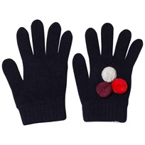Il Gufo Navy and Multi Pom Pom Knit Gloves 4907