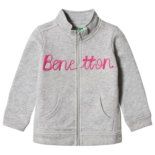 United Colors of Benetton Zip Sweater Jacket with Knit Logo Light Grey Light Grey