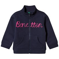 United Colors of Benetton L/S Zip Sweater Jacket With Knit Logo Navy Navy