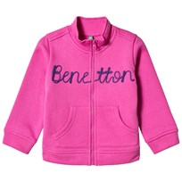 United Colors of Benetton L/S Zip Sweater Jacket With Knit Logo Fushcia FUSHCIA