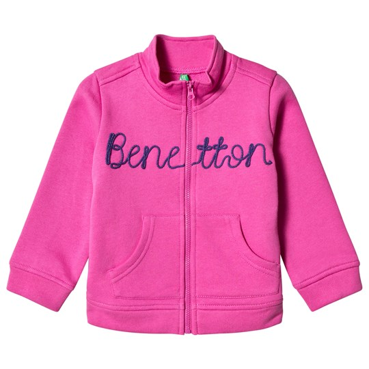 United Colors of Benetton Zip Sweater Jacket with Knit Logo Fushcia FUSHCIA
