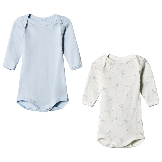 Petit Bateau 2 Pack Baby Body White and Blue White