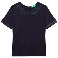 United Colors of Benetton S/S Knit Top With Lurex Coller Sleeve Trim & Back Navy Navy