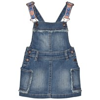 United Colors of Benetton Denim Dungaree Dress With Embroidered Straps Blue Blue
