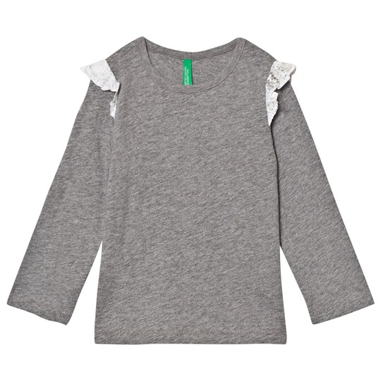 United Colors of Benetton L/S Slub Cotton T-Shirt With Frill Shoulder Detail Mid Grey Mid Grey