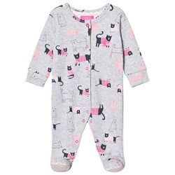 Joules Grey Marl Cat Print Jersey Footed One-Piece