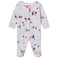 Tom Joule Grey Marl Cat Print Jersey Babygrow GREY MARL CAT